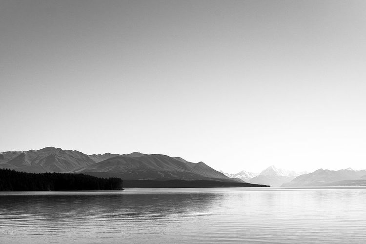 Adventure Ancient Beauty In Nature Black And White Clear Sky Glaciers Lake Mountain Mountain Range Mountains And Sky Nature New Zealand New Zealand Scenery No People Outdoors Placid  Scenics Tranquil Scene Tranquility Travel Travel Destinations Travel Photography Water