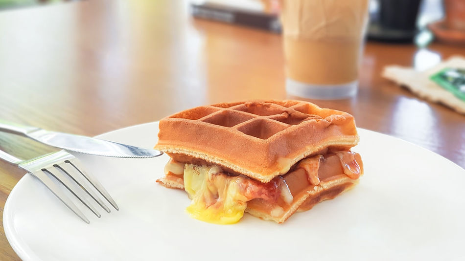 vegetarian food concept : waffle sandwich with cheese served for morning Vegetarian Food Concept Food And Drink Ready-to-eat Freshness Plate Table Still Life Close-up No People Waffle Sandwich Cheese Vegetarian Lifestyle  Bread Sandwich Time Tasty Snack