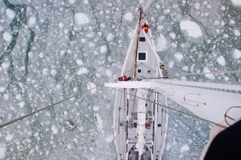 Directly above shot of sailboat on frozen sea