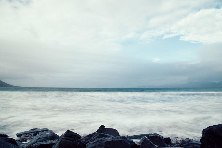 Beach in the atlantic coast of Ireland Ireland Wild Atlantic Way Beach Beauty In Nature Cloud - Sky Day Horizon Horizon Over Water Irish Nature Ocean Outdoors Ring Of Kerry Rock Scenery Scenics Scenics - Nature Sea Sky Solid Tranquil Scene Tranquility Water Waves