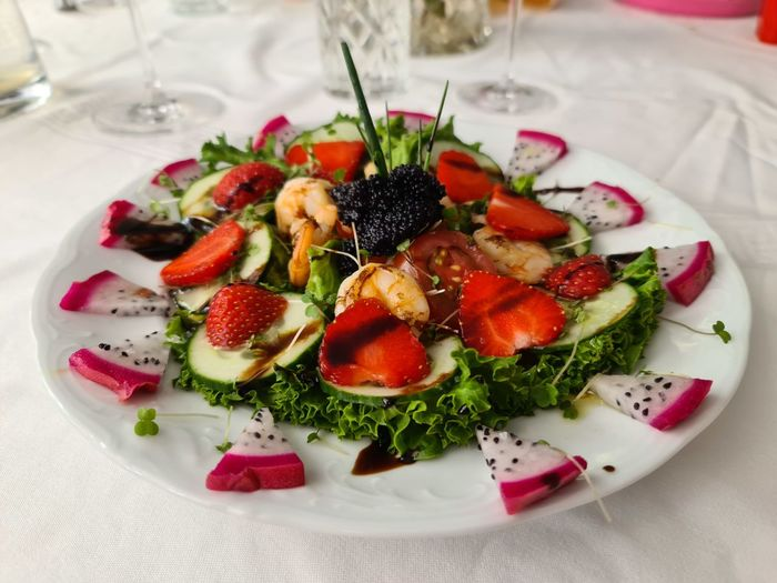 High angle view of salad served in plate