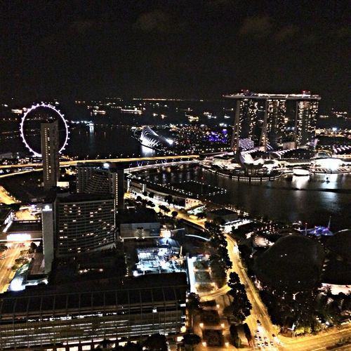 Checking In Night Lights Singapore Marina Bay Sands