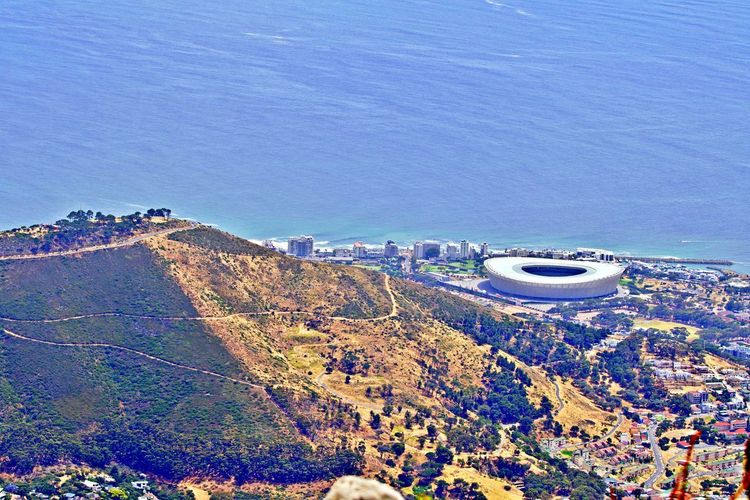 Sea Water Scenics - Nature High Angle View Beauty In Nature Nature No People Architecture Built Structure Tranquil Scene Outdoors Soccer Stadium Signal Hill Beach Aerial View