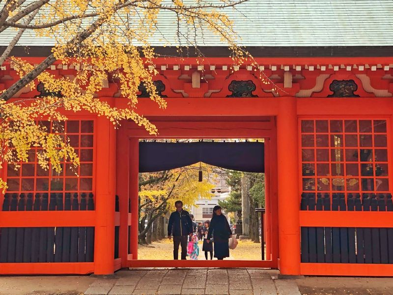 Autumn leaves and shrine/枯葉と門 Architecture Built Structure Real People Building Exterior Walking Day Outdoors Women Tree Red Men Togetherness Nature Adult People IPhoneX IPhoneography
