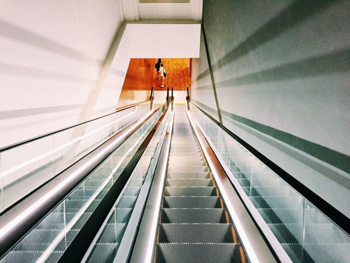 High angle view of escalator in modern building