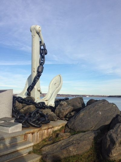 Sky Rock Water Sculpture Tranquility Tranquil Scene Beach Anchor Giant Anchor