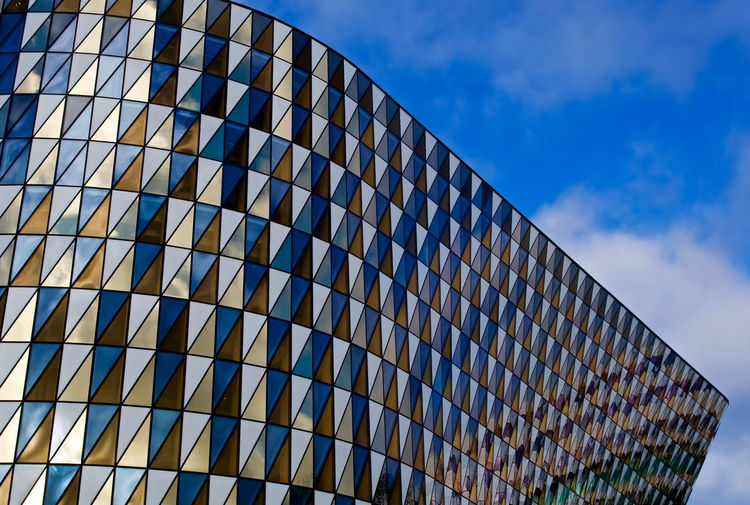 Aula Medica In Stockholm Sweden Solna Sweden Architecture Aula Medica Blue Building Exterior Built Structure City Day Low Angle View Modern No People Outdoors Pattern Sky The Graphic City