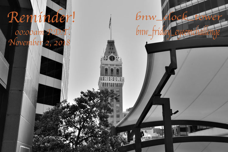 The bnw_friday_eyeemchallenge will start in approximately 24 hrs. Please get your images ready for this weeks theme bnw_clock_tower. I'll send out a start message at midnight Pacific time, 8am (CET) Central European Time. Please use the tags Bnw_clock_tower Bnw_friday_eyeemchallenge Home Of Oakland Tribune Newspaper Clock Tower Built 1923 22 Story Architecture French & Italian Classical Neo-Gothic Style: Renaissance Revival Mansard Roof Monochrome_Photography Monochrome Black & White Black & White Photography Black And White Black And White Collection  Urban Photography Skyscrapers Awning Tree U.S.Flag Clock Face