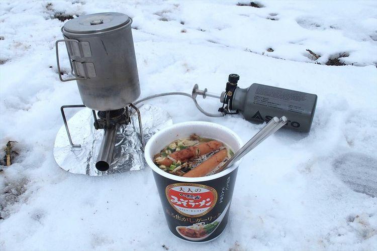 山で食べるカップ麺はどんな名店よりも美味し( ´ ▽ ` ) Yummy Food Ramen Japan ~カメログまたここで~ カップ麺 Enjoying Life Mountains Cooking