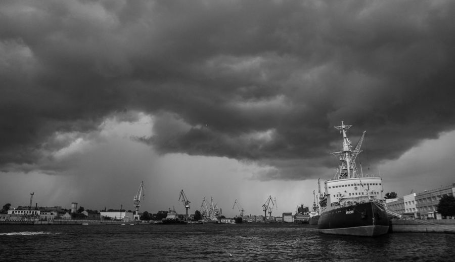 Ice breaker Krasin before the storm Beauty In Nature Cloud - Sky Harbor Mode Of Transport Nautical Vessel No People Sailing Sea Ship Sky Storm Storm Cloud Tall Ship Water Waterfront