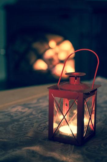 Burning Close-up Flame Focus On Foreground Heat - Temperature Illuminated Indoors  Lantern No People Table