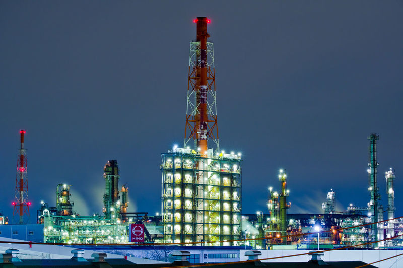 Fuel And Power Generation Industry Architecture Built Structure Oil Industry Building Exterior Night Nature No People Illuminated Sky Outdoors Low Angle View Machinery Tower Oil Refinery Offshore Platform Clear Sky Factory Nautical Vessel Japan Yokohama Japan Photography Pentax Industry