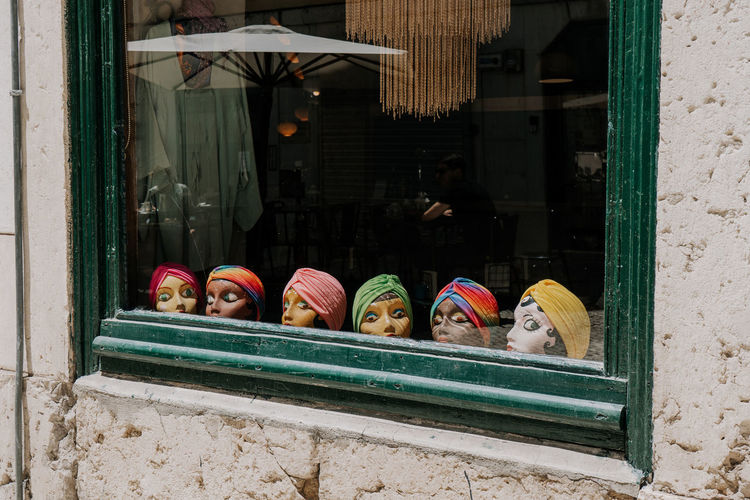 Portugal Travel Building Exterior Choice Headshot Headwear Lisbon Multi Colored Outdoors Retail  Shopping Store Store Window Streetphotography Tourism Travel Destinations Vintage Window