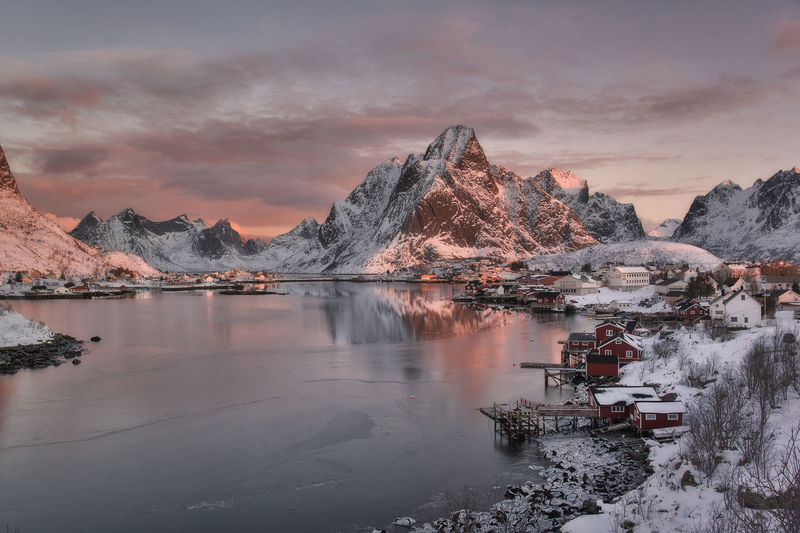 Norway Architecture Beauty In Nature Cloud - Sky Cold Temperature Idyllic Lake Landscape Lofoten Mountain Mountain Range Nature No People Non-urban Scene Reflection Scenics - Nature Sky Sunrise Sunset Tranquil Scene Tranquility Water Winter