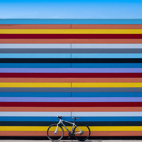 Multi Colored No People Striped Blue Pattern Yellow Transportation Indoors  Close-up Backgrounds Day Communication In A Row Bicycle Vibrant Color Group Of Objects Full Frame Modern Creativity Filming
