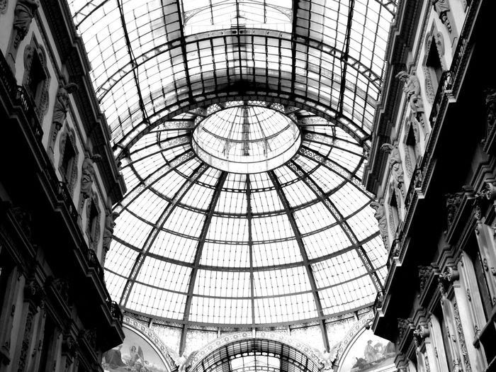 Milan Arch Architectural Feature Architecture Built Structure Ceiling Design Dome Exterior Indoors  Italy Milan Milan,Italy Milano Pattern Travel Whiteandblack