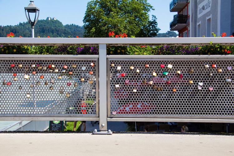 View of padlocks on fence