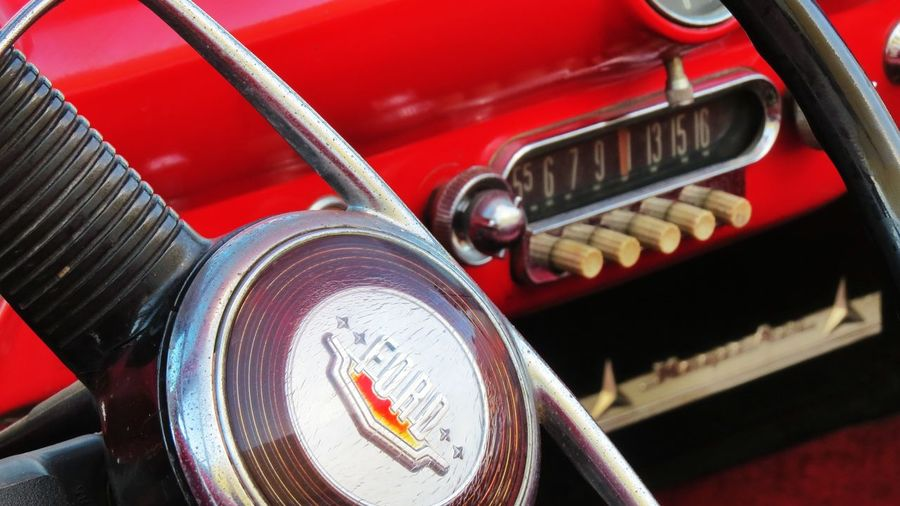 Mode Of Transportation Car Transportation Land Vehicle Motor Vehicle Retro Styled Metal Close-up Red No People Vintage Car Number Speed Sport Antique Speedometer Wheel Steering Wheel The Past Push Button Chrome Luxury