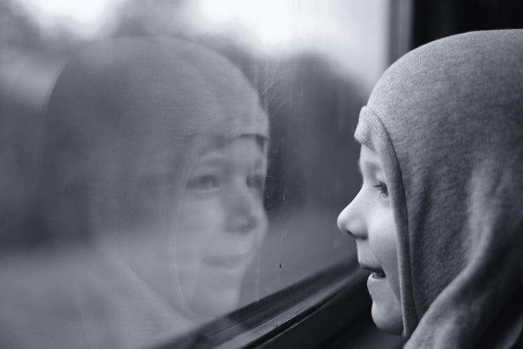 Close-Up Of Child In Train