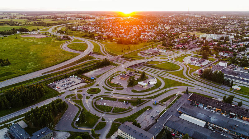 Drone  Estonia Intersection Tartu Aerial Aerial View Aero Architecture Bridge City City Life Cityscape Crowded Day High Angle View Highway Outdoors Road Street Summer Sun Sunrise Sunset Transportation Travel Destinations