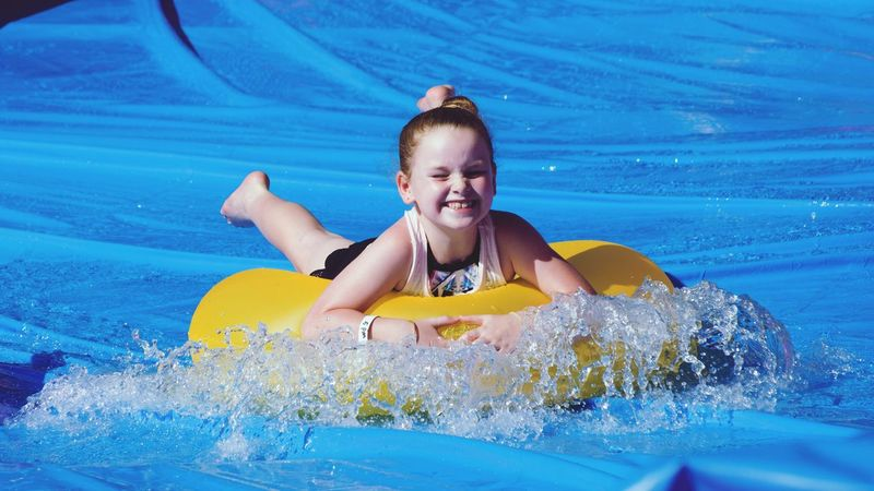 Blue Wave Blue Water Sports Water Slides Splash Children Play Playful Enjoying Life Showcase April