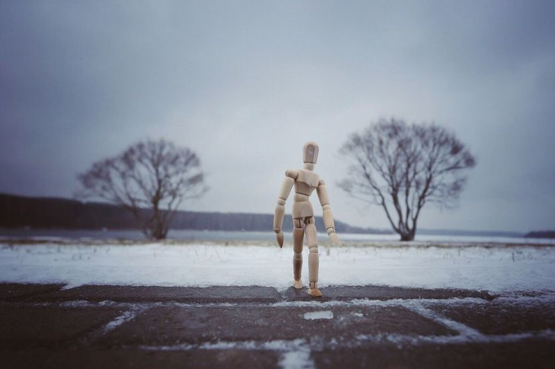 Wooden Figurine On Footpath Against Sky During Winter