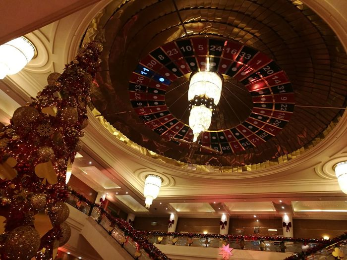 HuaweiP9 Orginal Casino Casino Du Liban Christmas Tree Christmas Lights Christmas Decoration Christmas Illuminated Indoors  Ceiling Built Structure Architecture Low Angle View Night