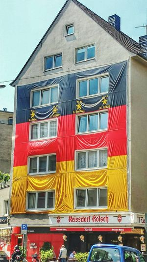 Wm 2014  World Cup 2014 Cologne , Köln,  House Architecture Sports Flags Waving Germany Soccer Football