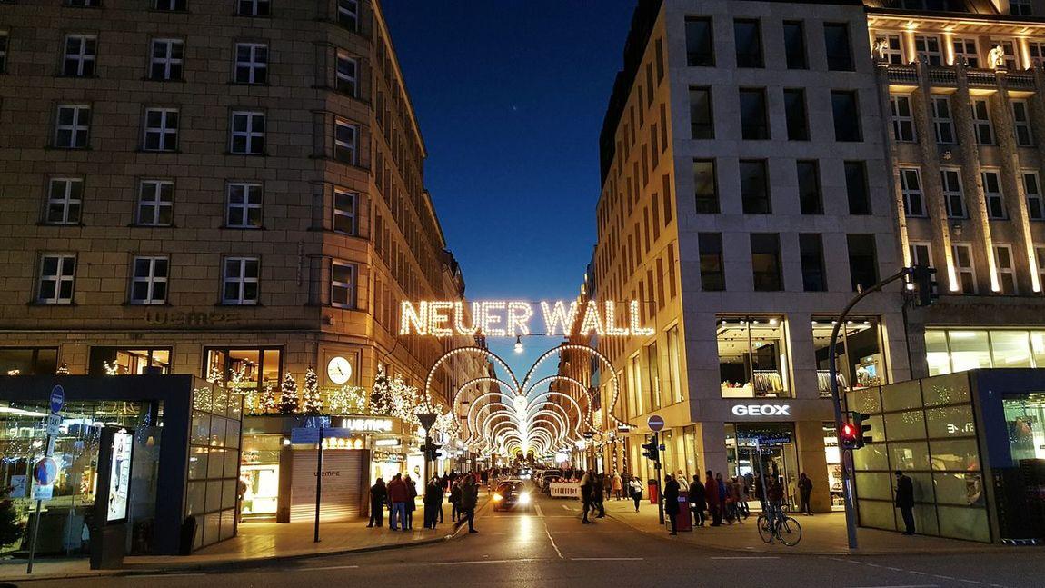 Illuminated Night City Street Christmas Lights