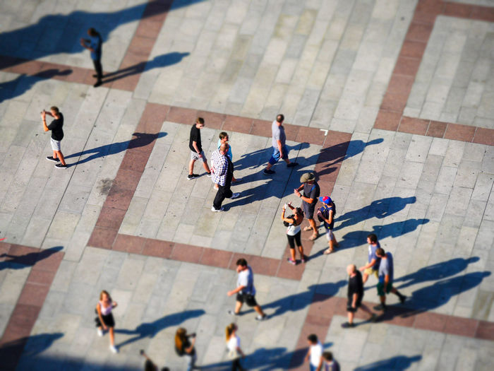 High angle view of people o footpath