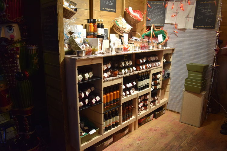 Bottles on display at store
