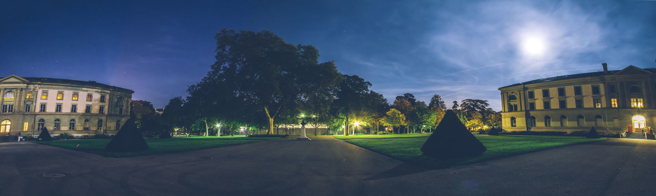 Full moon night in Geneva, panoramic of university building and park. Architecture Bastions Building Exterior Built Structure City Full Moon Geneva Grass Illuminated Moon Nature Night No People Outdoors Parc Des Bastions Park Sky Switzerland Tree University University Campus