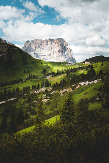 The Dolomites around Val Gardena Sky Nature Mountain Dolomites Alps Alps Italy Green Color Landscape Scenics - Nature Tranquility Cloud - Sky Outdoors No People Tranquility Landscape_photography Plant Tranquil Scene Environment Growth Langkofel