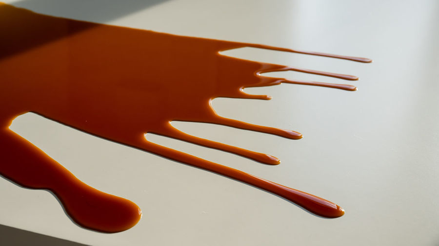 High angle view of orange on table against white background