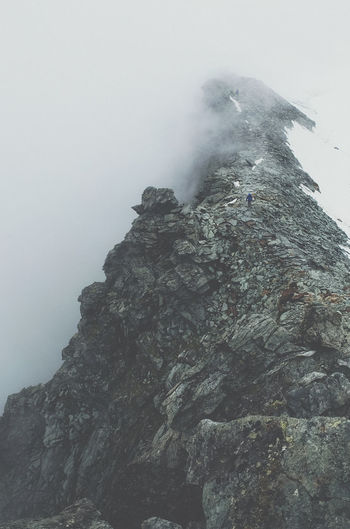 Alone Alpine Alps Altitude Challenge Climbing Clouds Cold Danger Dangerous Edge Of The World Exhausted Extreme Sports High Ice Isolated Mist Mountain Mountain Climbing Nature Ominous Outdoors Rock Snow Wind