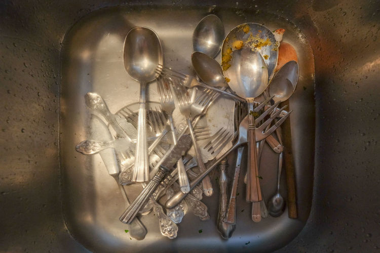 After Dinner Arts Is Everywher Cutlery Objects Silverware  Still Life Used Cutlery View From Above