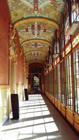 Corridor Windows Shadow Light Through The Window Mosaic Colourful Ornaments Tiles Ceiling Plafond Ceiling Design Colourful Windows Patterns Creativity Individual Mosaic Tiles Hospital De La Santa Creu I Sant Pau