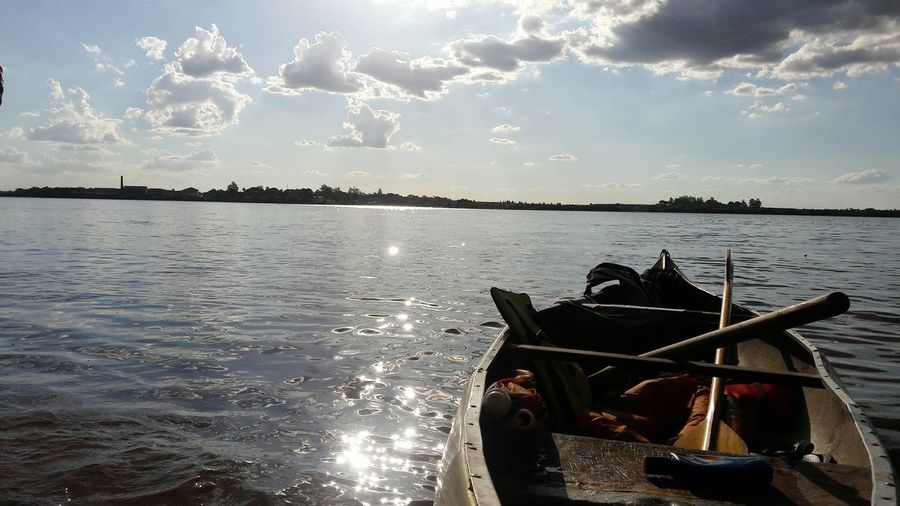Piragua First Eyeem Photo Water Boat Fishing Reflection Clouds And Sky Sun River