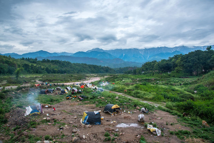 Tents of nomadic tribes in evergreen mountain region