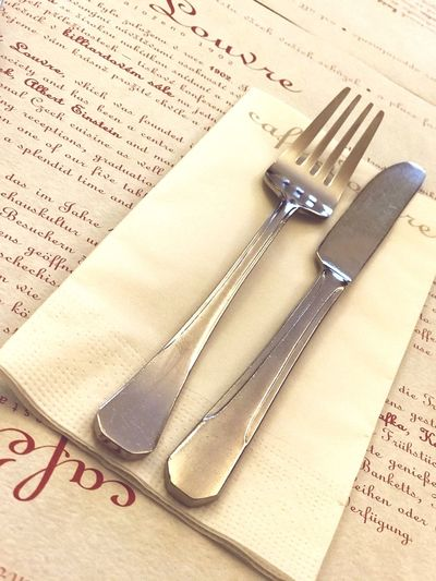 Vintage Streetphotography Street Lifestyle Life Table Breakfast Kaffee Café Louvre Cafe Frühstück Prague Prag Besteck Still Life Table Paper High Angle View Page Text Book Indoors  Close-up No People Paper Clip