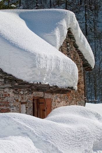 Architecture Building Building Exterior Built Structure Cold Temperature Cottage Covering Day Field Frozen House Nature No People Outdoors Plant Powder Snow Ski Resort  Snow Tree White Color Winter Wood - Material