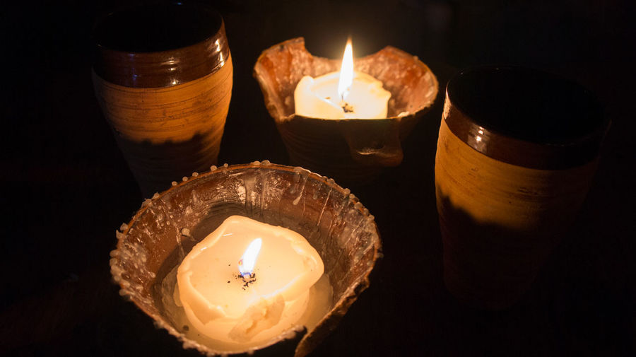 Cups and candles Burning Candle Celebration Close-up Flame Heat - Temperature Illuminated No People Oil Lamp Tea Light