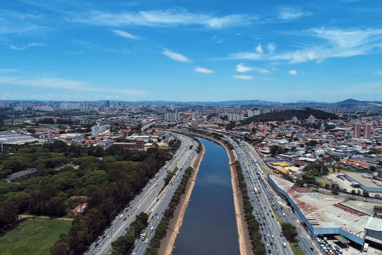 Aerial landscape of highway in the sunny day