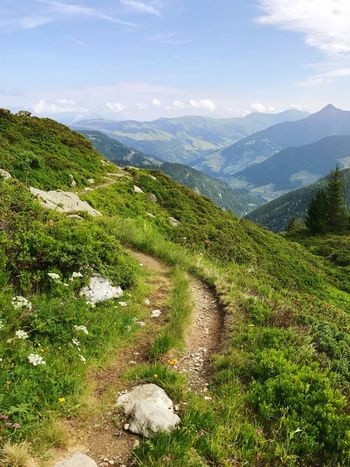 Alps Road Hiking Trail Trail Way Path Mountain Nature Beauty In Nature Tranquility Scenics Tranquil Scene Grass Landscape Day Idyllic No People Mountain Range Outdoors