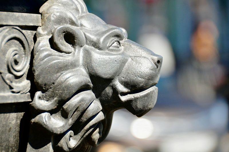 Close-Up Of Metallic Lion Sculpture