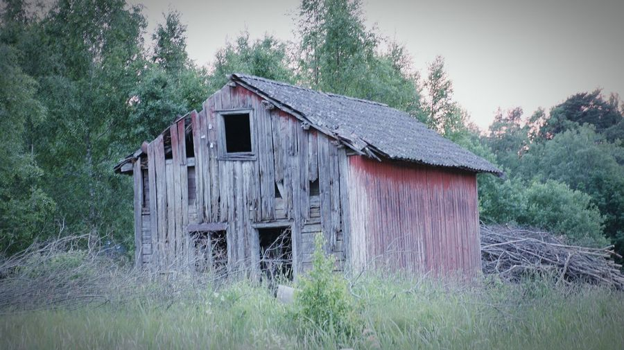 Old house on field