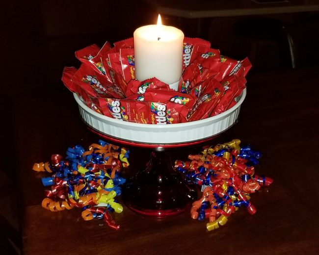 Party Celebration Skittles Candy Birthday Cake Inventive Different Cake Decoration Red Flame Candle Close-up Lit