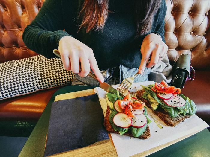 Healthy lifestyle food, avocado toast, closeup.