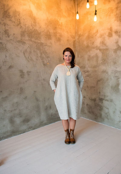 Adult Adults Only Beautiful Woman Day Fashion Industry Fashion Linen Front View Full Length Gray Dress Indoors  Linen Looking At Camera Model One Person People Portrait Real People Smiling Woman Standing Studio Shot Summer Summer Fashion Texture Young Adult Young Women