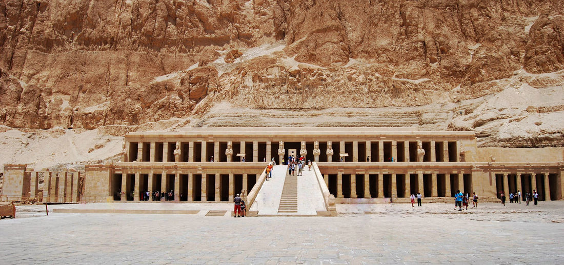 The Mortuary Temple of Hatshepsut, Valley of the kings, Egypt Valley Of The Kings Egypt Architecture Day Built Structure Wedding Nature Women Adult Newlywed Event Bride Travel Destinations Life Events Incidental People Real People Building Exterior Wedding Dress Travel Building Outdoors Rear View Architectural Column